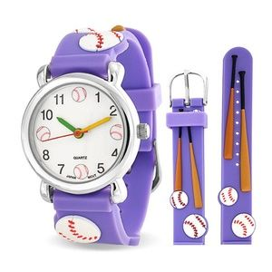 Baseball Bat Sports Waterproof Wrist Watch Quartz